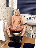 British blonde in high heels and fishnet pantyhose